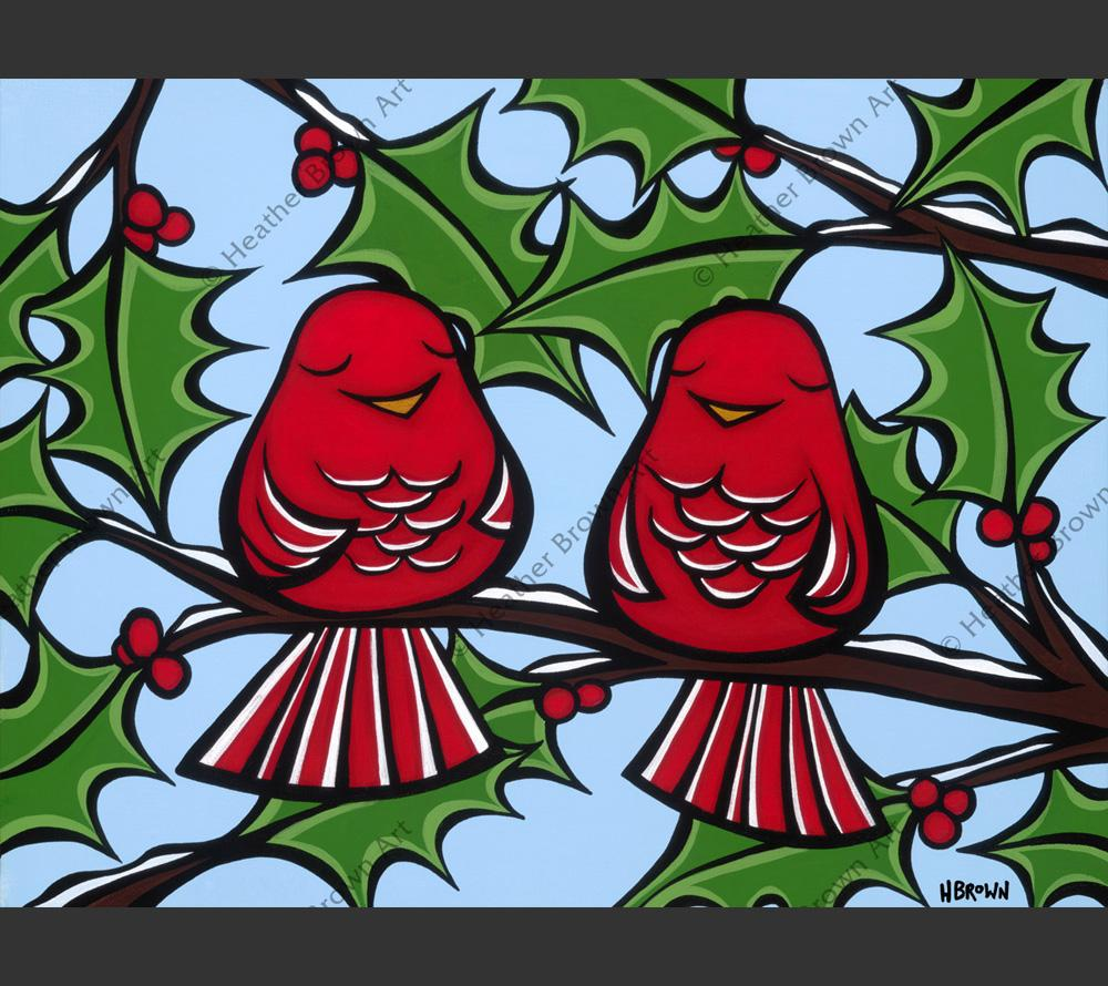 Holiday Birds sitting under the mistletoe