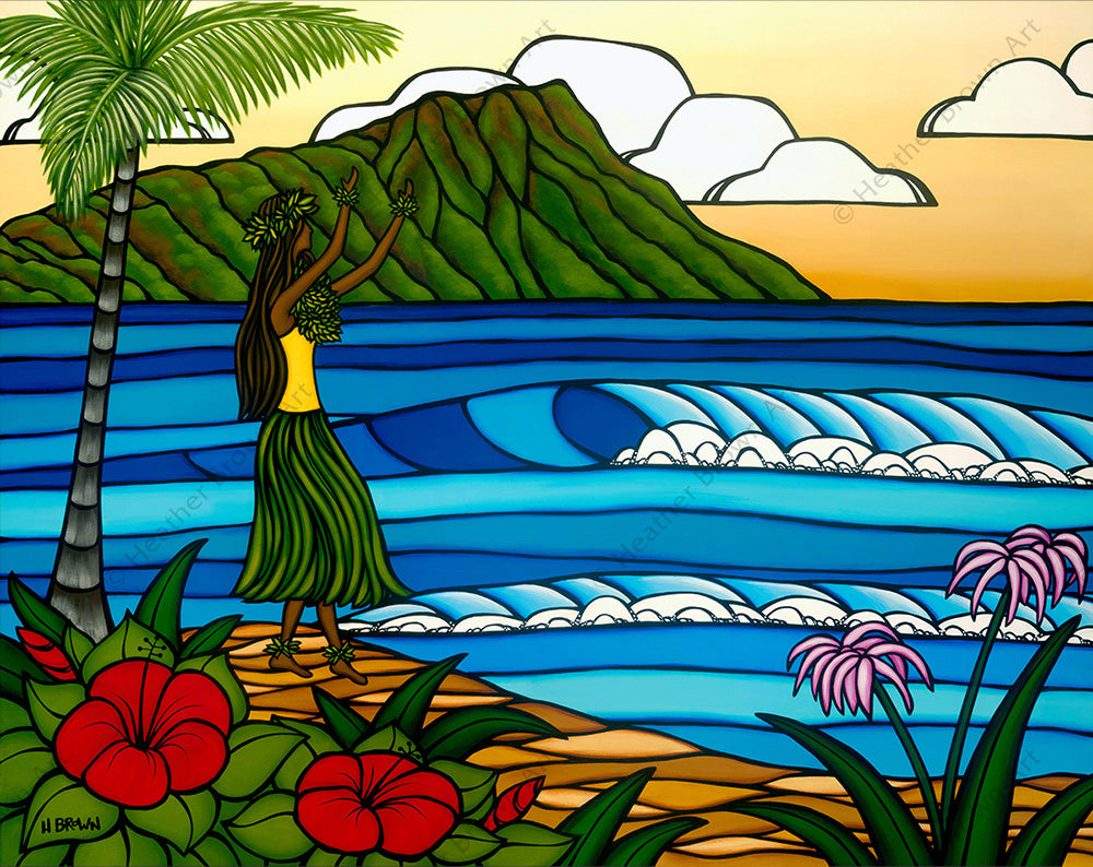 Hula Girl - A hula girl dancing on the beach in front of Diamond Head Crater by Heather Brown