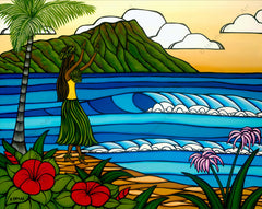 Hula Girl - Matted print of a hula girl dancing on the beach in front of Diamond Head Crater by Heather Brown