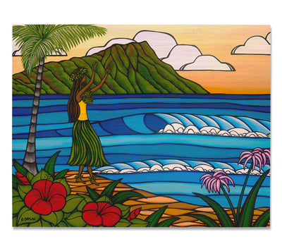 Hula Girl - Bamboo wood print of a hula girl dancing on the beach in front of Diamond Head Crater by tropical artist Heather Brown