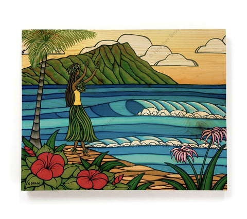 Hula Girl - Painting of a hula girl dancing on the beach in front of Diamond Head Crater by tropical artist Heather Brown