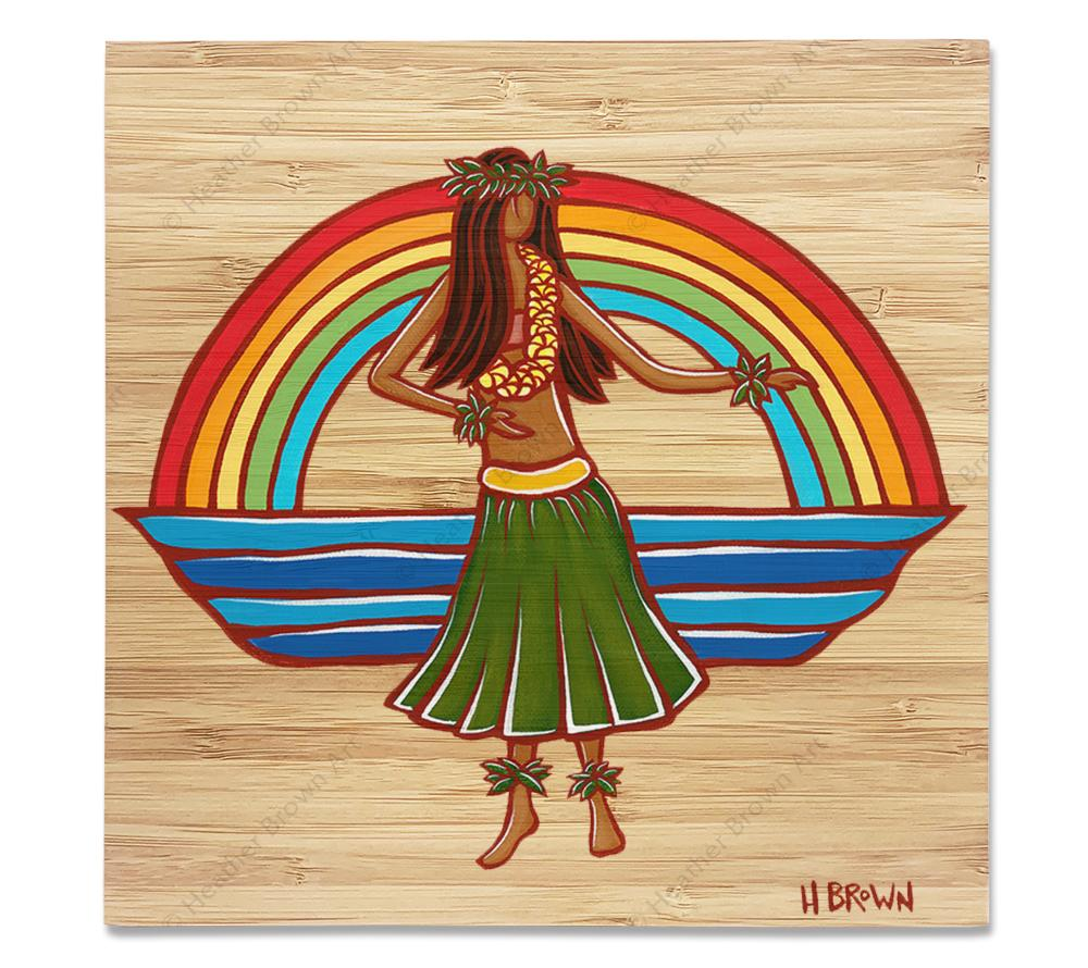 Hula - Bamboo wood print of a woman dancing the hula framed by a classic Hawaiian rainbow by tropical artist Heather Brown