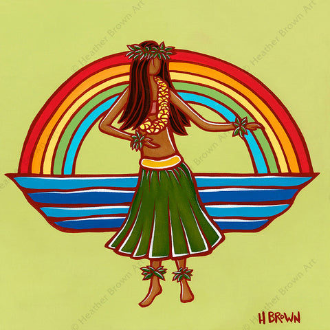 """Hula"", featuring a woman dancing the hula framed by a classic Hawaiian rainbow, is one of North Shore Oahu tropical artist Heather Brown's new Hawaiiana Elements Series of paintings."
