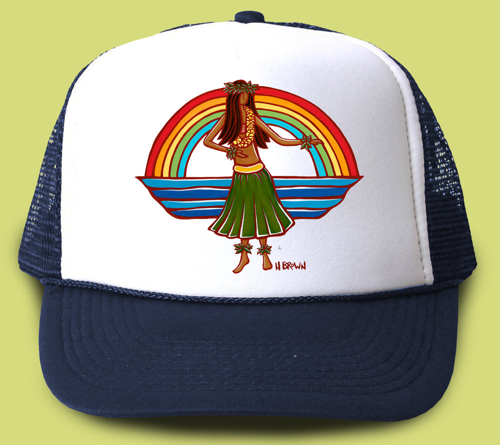 """Hula"" Trucker Hat - Wearable Art by Tropical Artist Heather Brown"