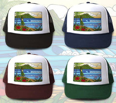"""Hula Girl"" Trucker Hat is available in four hat colors"