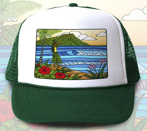 """Hula Girl"" Trucker Hat - Wearable Art by Tropical Artist Heather Brown"