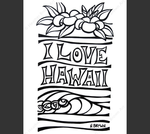 I Love Hawaii Coloring Book Page