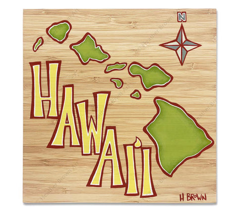 Island Map - Bamboo wood print of an aerial view of the Hawaiian Islands by tropical artist Heather Brown