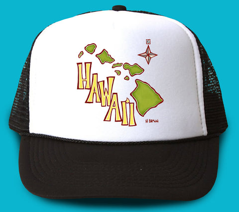 """Island Map"" Trucker Hat - Wearable Art by Tropical Artist Heather Brown"