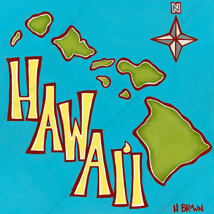 """Island Map"", featuring an aerial view of the Hawaiian Islands, is one of North Shore Oahu tropical artist Heather Brown's new Hawaiiana Elements Series of paintings."