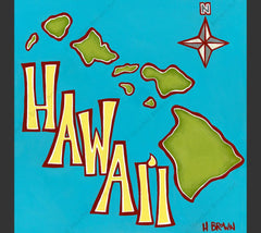 "Island Map - Matted print from the ""Hawaiiana Elements Series"" by North Shore Oahu Tropical Artist Heather Brown featuring an aerial view of the Hawaiian Islands."