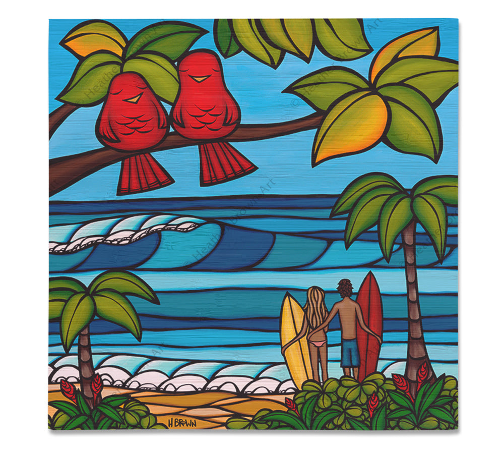 Island Sweethearts - Bamboo wood print of two loving couples, a surfer guy and gal out for a romantic day of sun and sea, and a pair of adorable birds also enjoying the beautiful scenery of Hawaii by tropical artist Heather Brown