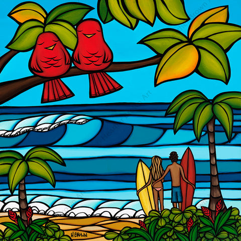 Island Sweethearts - Matted print of two loving couples, a surfer guy and gal out for a romantic day of sun and sea, and a pair of adorable birds also enjoying the beautiful tropical scenery of Hawaii by Heather Brown