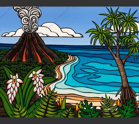Island Volcano - Painting by Heather Brown featuring a volcano erupting in the distance on a tropical Hawaiian island.