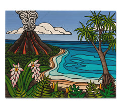 Island Volcano - Bamboo wood print of a volcano erupting in the distance on a Hawaiian island by tropical artist Heather Brown