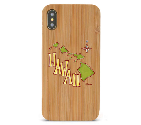 Island Map Bamboo iPhone 8/X Cases