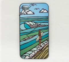 Jewel of the Sea iPhone Case – Surf girl at the beach by Hawaii surf artist Heather Brown