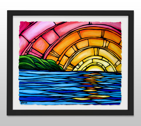 Juicy Sunset - Black Framed Deckled Paper Print by Heather Brown