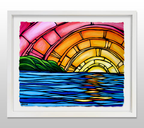 Juicy Sunset - White Framed Deckled Paper Print by Heather Brown