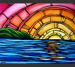 A vibrant and colorful depiction of a Hawaii sunset by surf artist Heather Brown