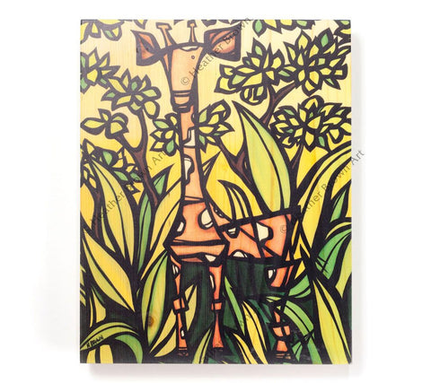 Jungle Giraffe - Open Edition Wood Panel Print by Heather Brown