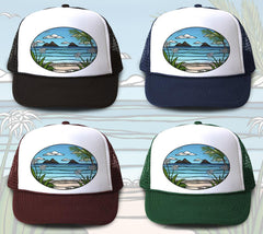 """Kailua Weekend"" Trucker Hat is available in four hat colors"