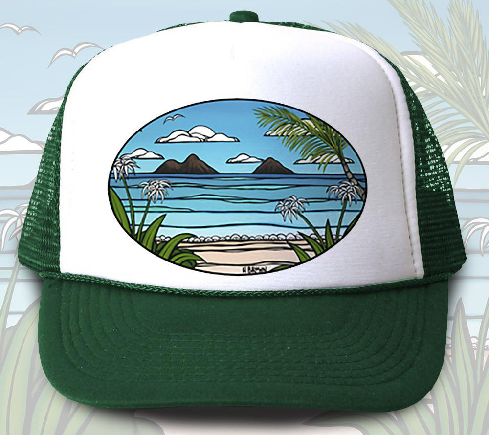 """Kailua Weekend"" Trucker Hat - Wearable Art by Tropical Artist Heather Brown"