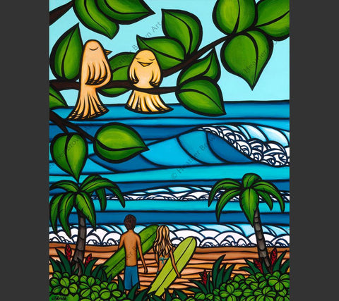 Two pairs of love birds enjoy the lush tropical atmosphere in this painting by surf artist Heather Brown