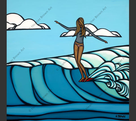 Painting by Heather Brown featuring a surfer girl catching an epic wave.
