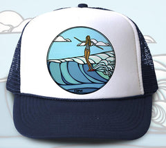 """Lady Slide"" Trucker Hat - Wearable Art by Tropical Artist Heather Brown"