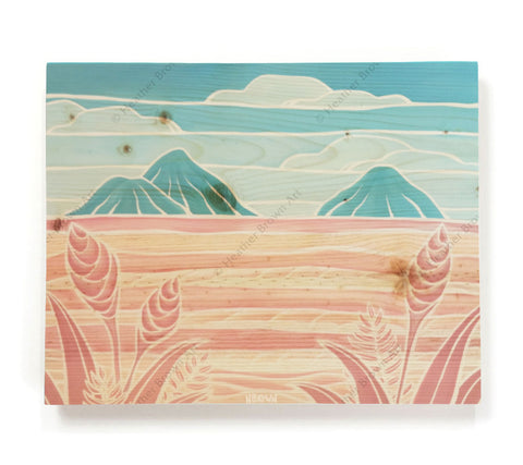 Lanikai Holiday - Open Edition Wood Panel Print by Heather Brown