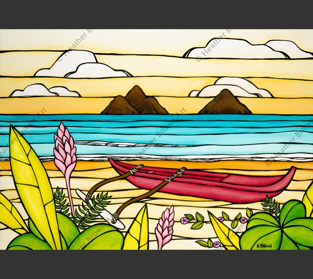 """Lanikai Daydream"" painting by Heather Brown featuring a beautiful summer day at the Mokes at Lanikai beach."