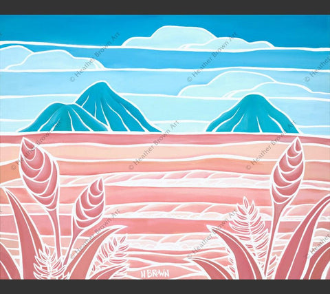 "Painting by Heather Brown featuring an iconic view of the ""Mokes"" off of Lanikai Beach, Oahu."