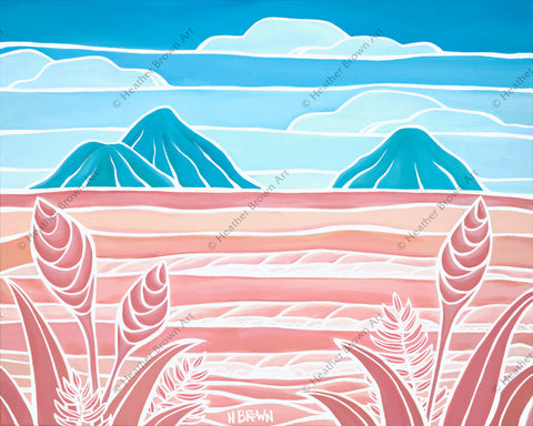 Lanikai Holiday - A vibrant, two-toned view of the Mokes from Lanikai Beach by tropical artist Heather Brown