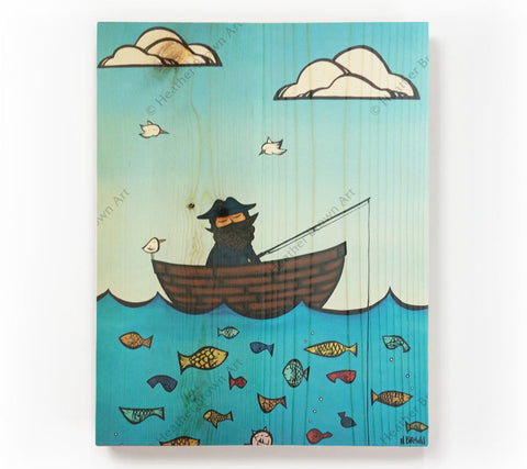 Life at Sea Level - Painting of a fisherman out looking for a good catch by Hawaii artist Heather Brown