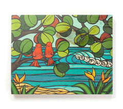 Love Birds - Open Edition Wood Panel Print by Heather Brown