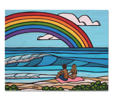 Love Under the Rainbow - Bamboo wood print of a couple enjoying a romantic day at the beach with a classic Hawaiian rainbow off into the distance by tropical artist Heather Brown
