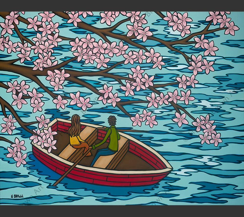 Love and Sakura by Heather Brown featuring a couple in a row boat enjoying the view of beautiful Sakura blossoms.