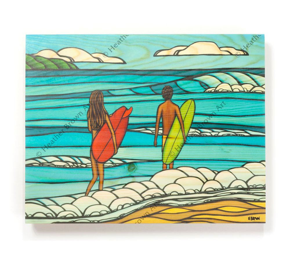 Love and Surf - Open Edition Wood Panel Print by Heather Brown