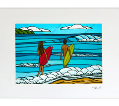 Matted print of Heather Brown's Hawaii art Love and Surf