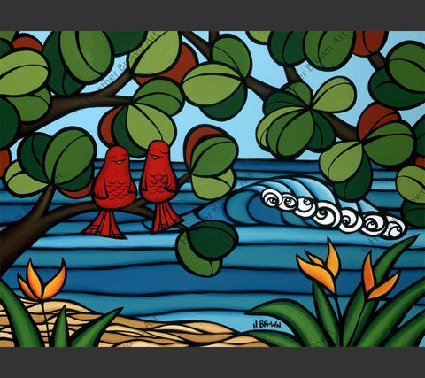 Love Birds - Tropical Hawaiian bird painting by Hawaii surf artist Heather Brown