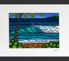 Matted print of Hawaiian Winter by surf artist Heather Brown