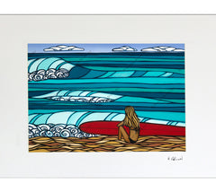 Surf Girl - Matted Print on Paper (Mat Only) by Hawaii surf artist Heather Brown