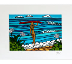 Surf Stroll - Matted Print on Paper (Mat Only) by Hawaii surf artist Heather Brown