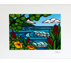 Tropical Paradise - Matted Print on Paper (Mat Only) by Hawaii surf artist Heather Brown