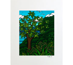 Ulu Tree - Matted Print on Paper (Mat Only) by Hawaii surf artist Heather Brown