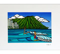 Waikiki Logging - Matted Prints on Paper (Mat Only) by Hawaii surf artist Heather Brown