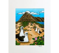 Albatross at Ka'ena Point - Matted Print by Heather Brown