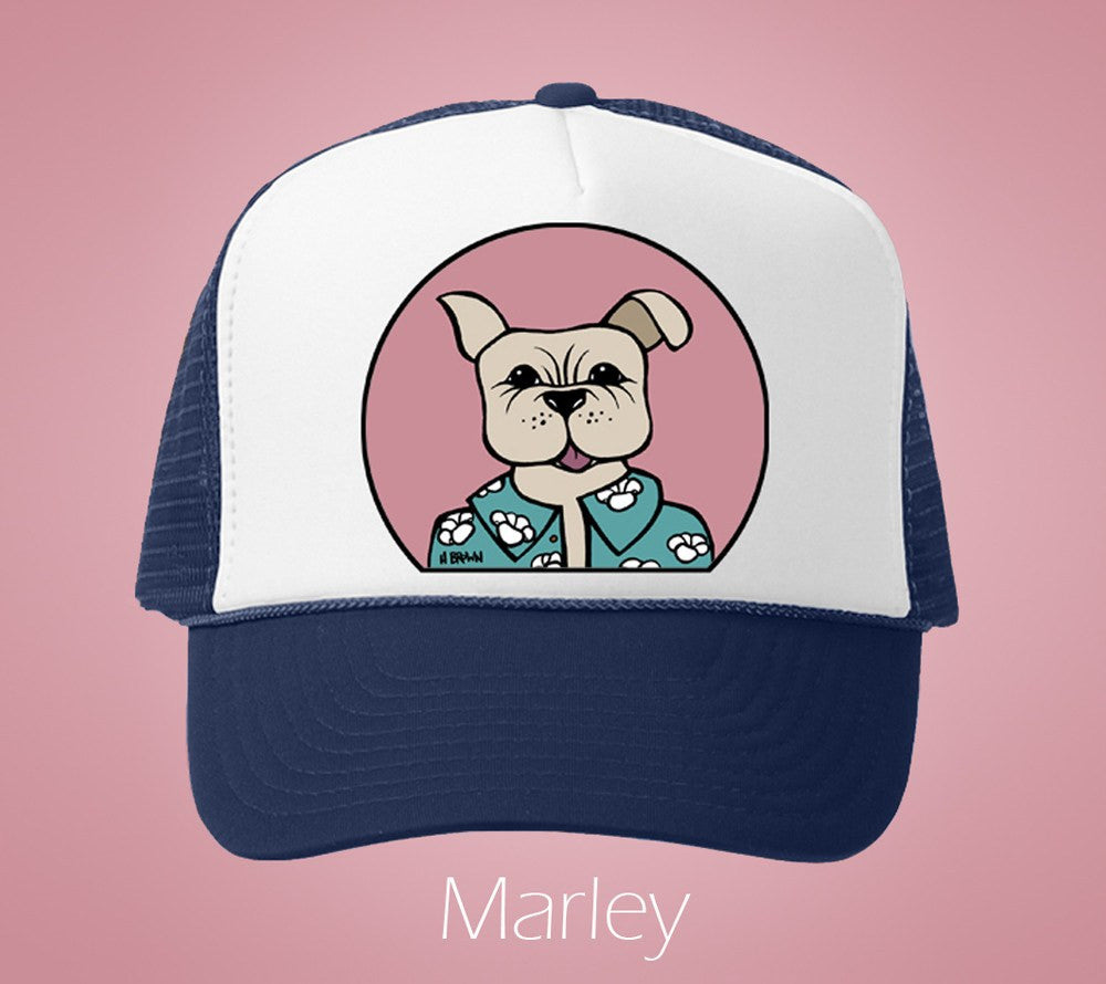 Marley Humane Society Trucker Hat by Hawaii artist Heather Brown