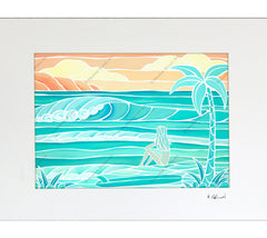 Beach Girl Matted Print by Heather Brown